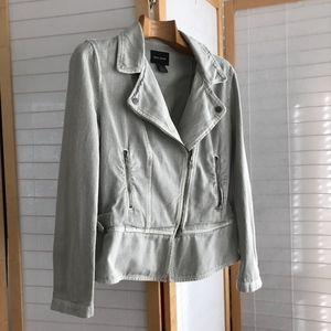 100% cotton Light grey denim moto jacket 4 Summer